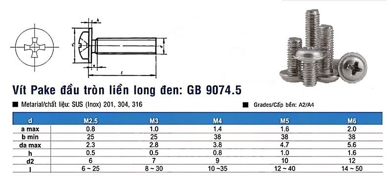 Vít inox pake đầu tròn liền long đen din gb 9074.5