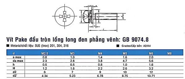Vít inox long đen GB9074.8