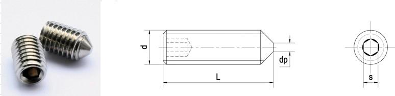 Thông số kỹ thuật của vít trí lục giác đầu nhọn DIN914