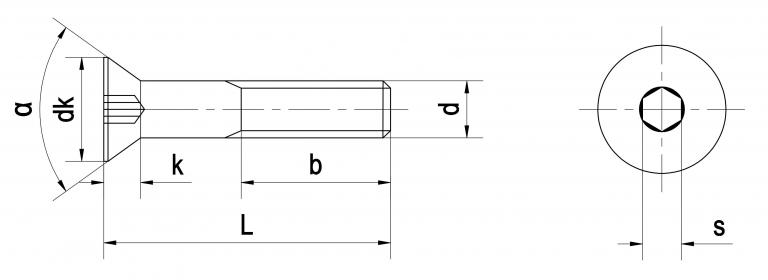 Bản vẽ kỹ thuật bulong lục giác chìm đầu bằng