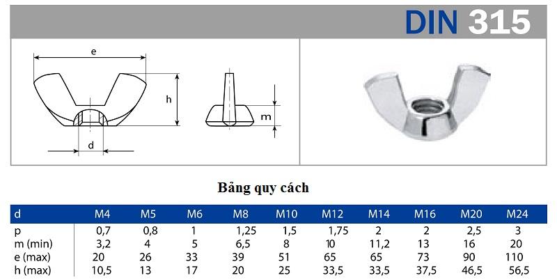 Thông số kỹ thuật của đai ốc tai hồng DIN 315