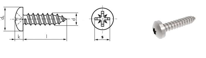 Vít gỗ inox đầu tròn din 7981C