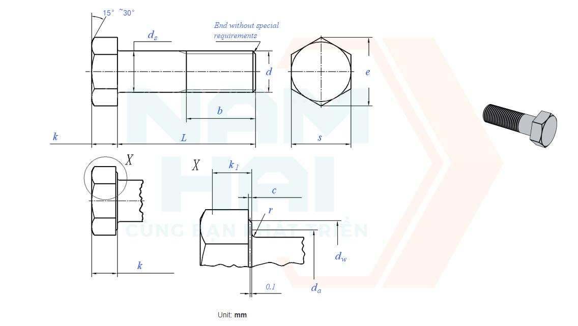 DIN EN ISO 4016 - 2011 - Bu lông lục giác