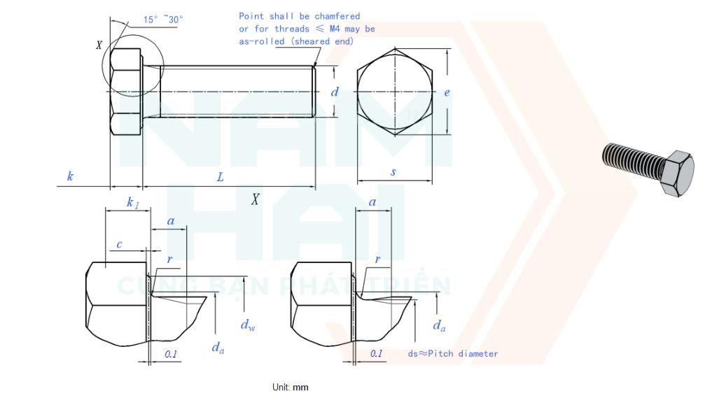 DIN EN ISO 4017 - 2001 - Bu lông lục giác
