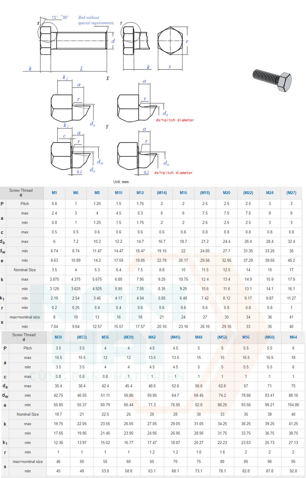 DIN EN ISO 4018 - 2011- Bu lông lục giác