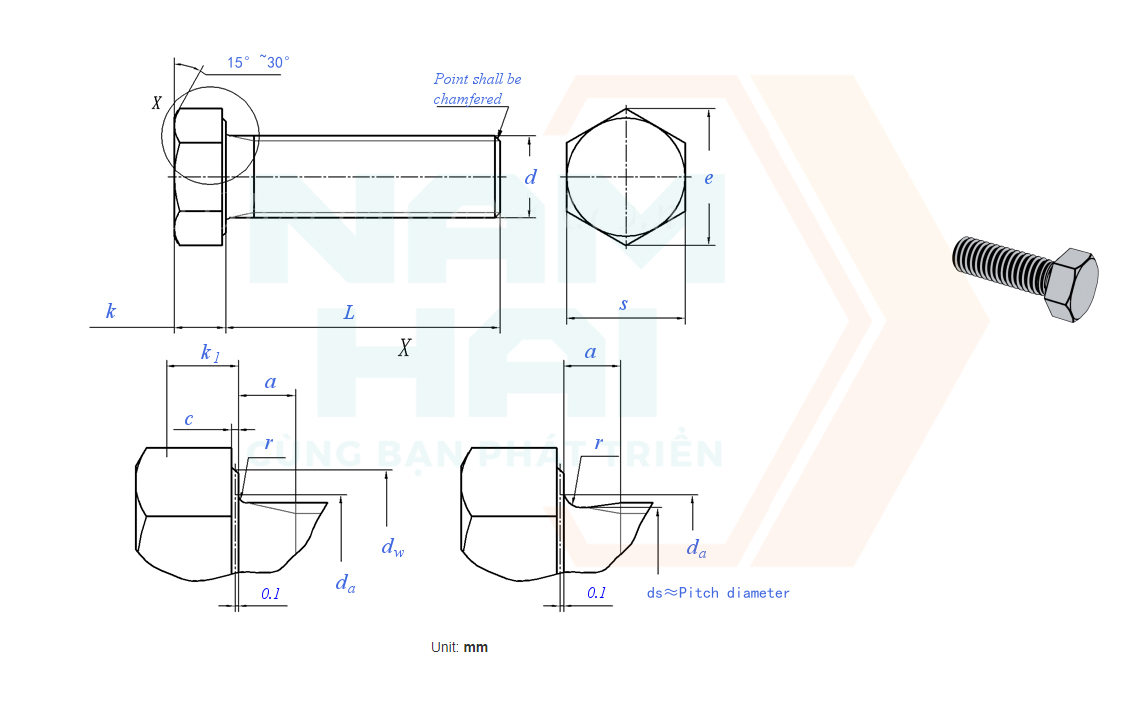 DIN EN ISO 8676 - 2011 - Bu lông lục giác