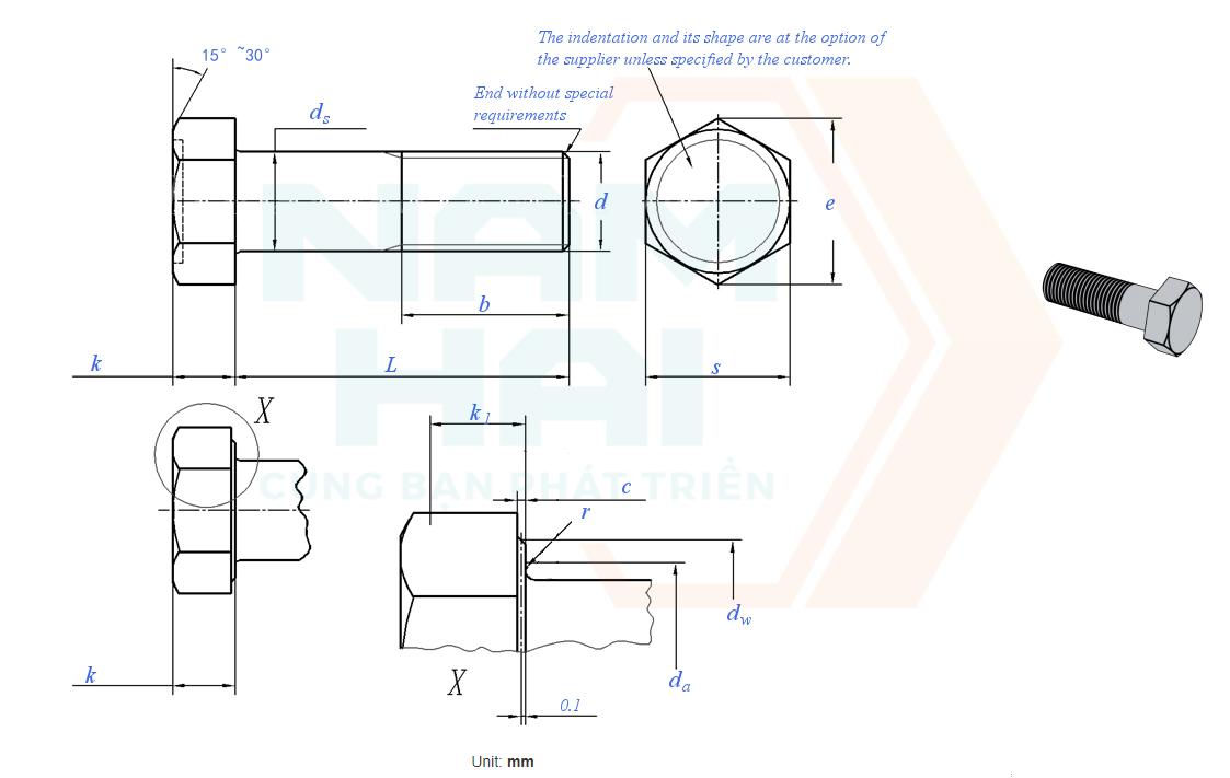 GB /T 5780 - 2000 - Bu lông lục giác