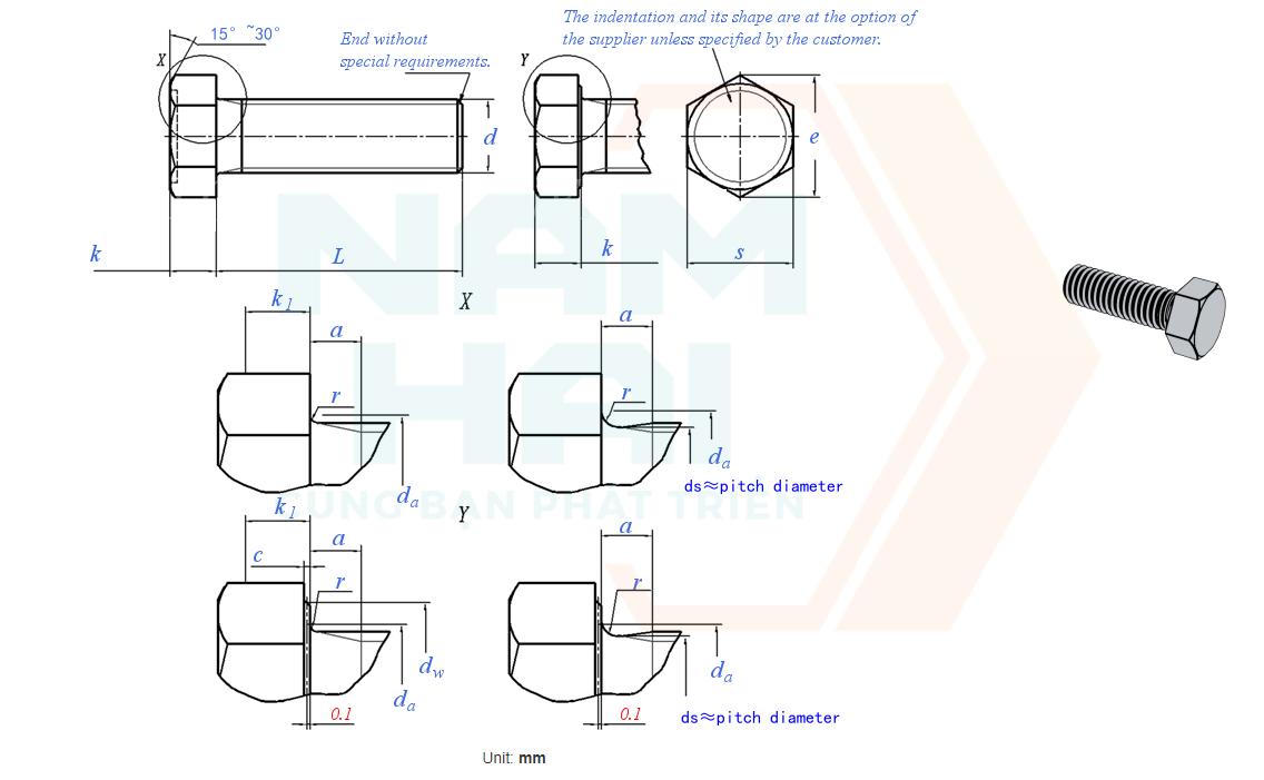 GB /T 5781 - 2000 - Bu lông lục giác