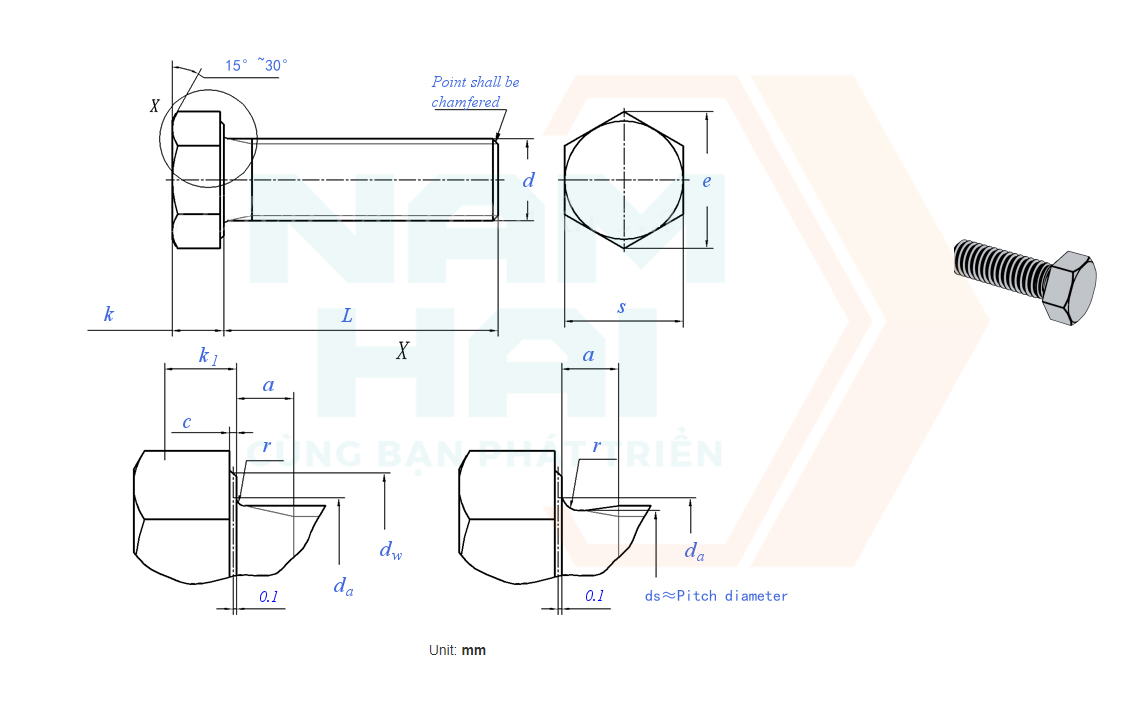GB /T 5786 - 2000 - Bu lông lục giác