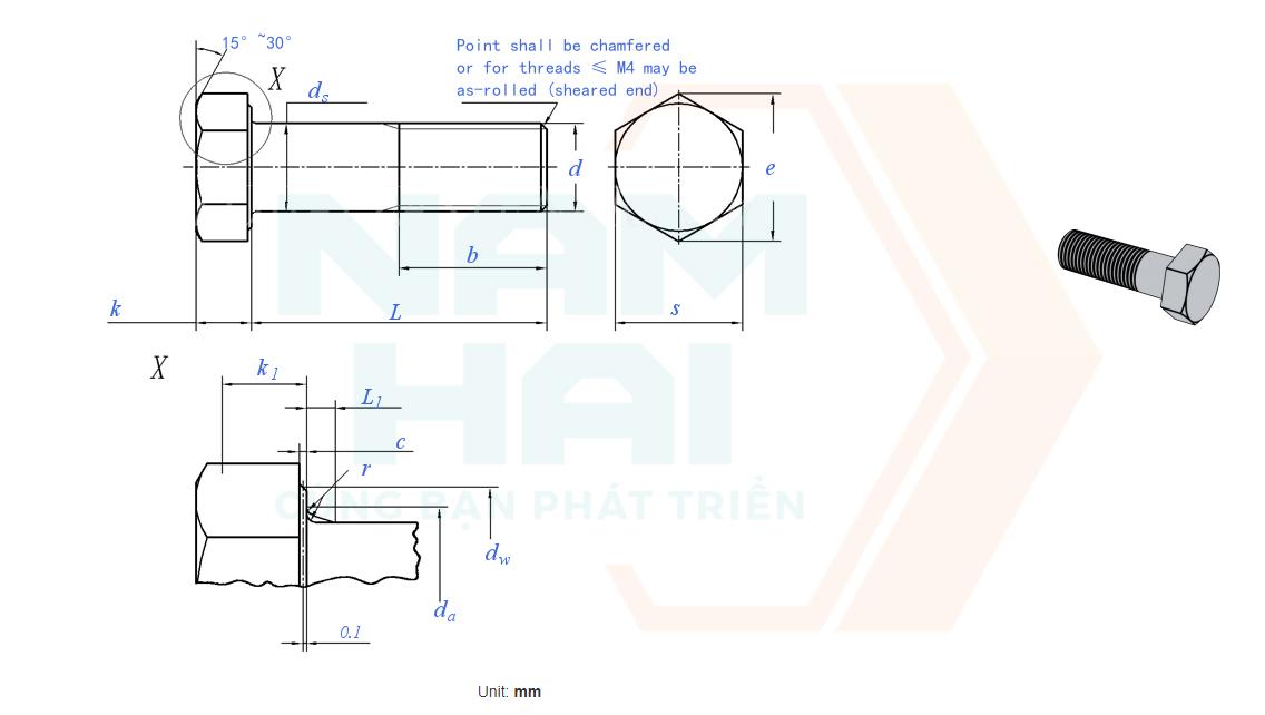 ISO 4014 - 1999 - Bu lông lục giác