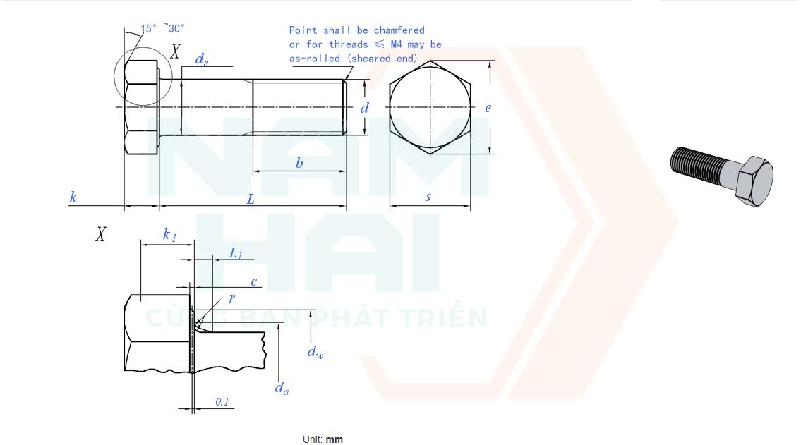 ISO 4014 - 2011 - Bu lông lục giác