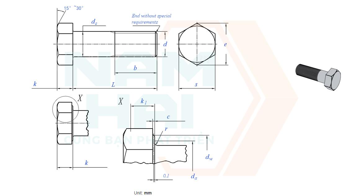 ISO 4016 - 2011 - Bu lông lục giác