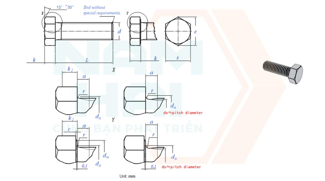 ISO 4018 - 1999 - Bu lông lục giác