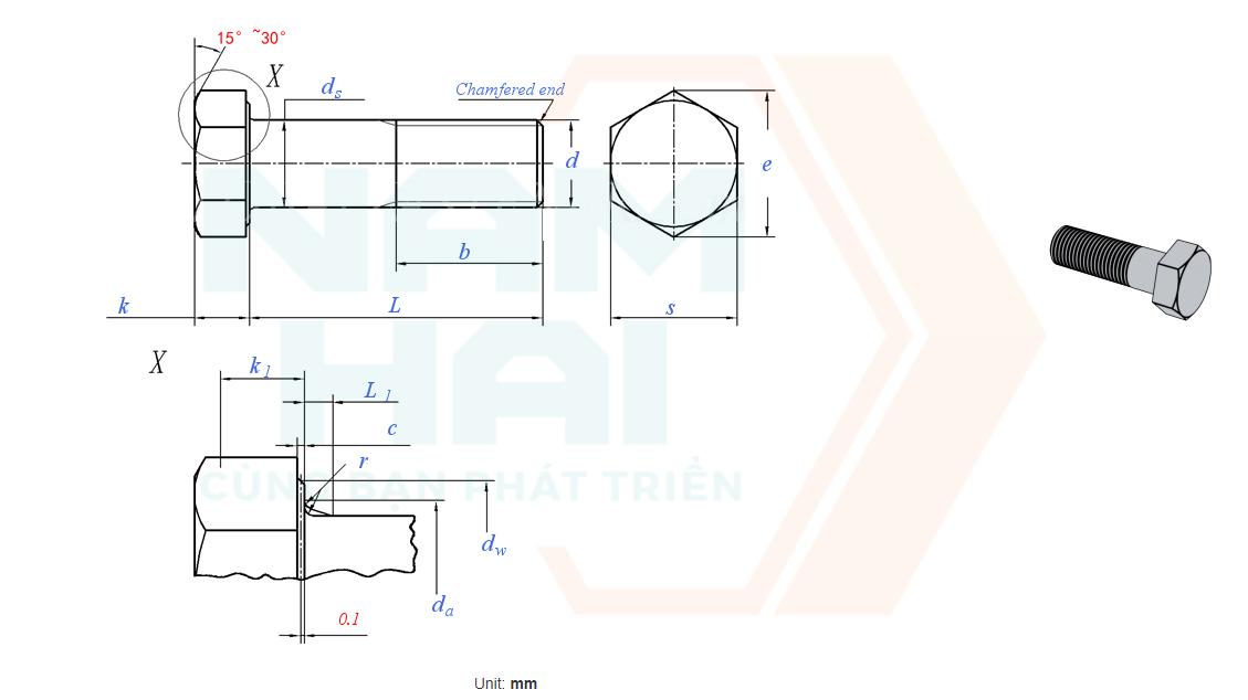 ISO 8765 - 1999 - Bu lông lục giác