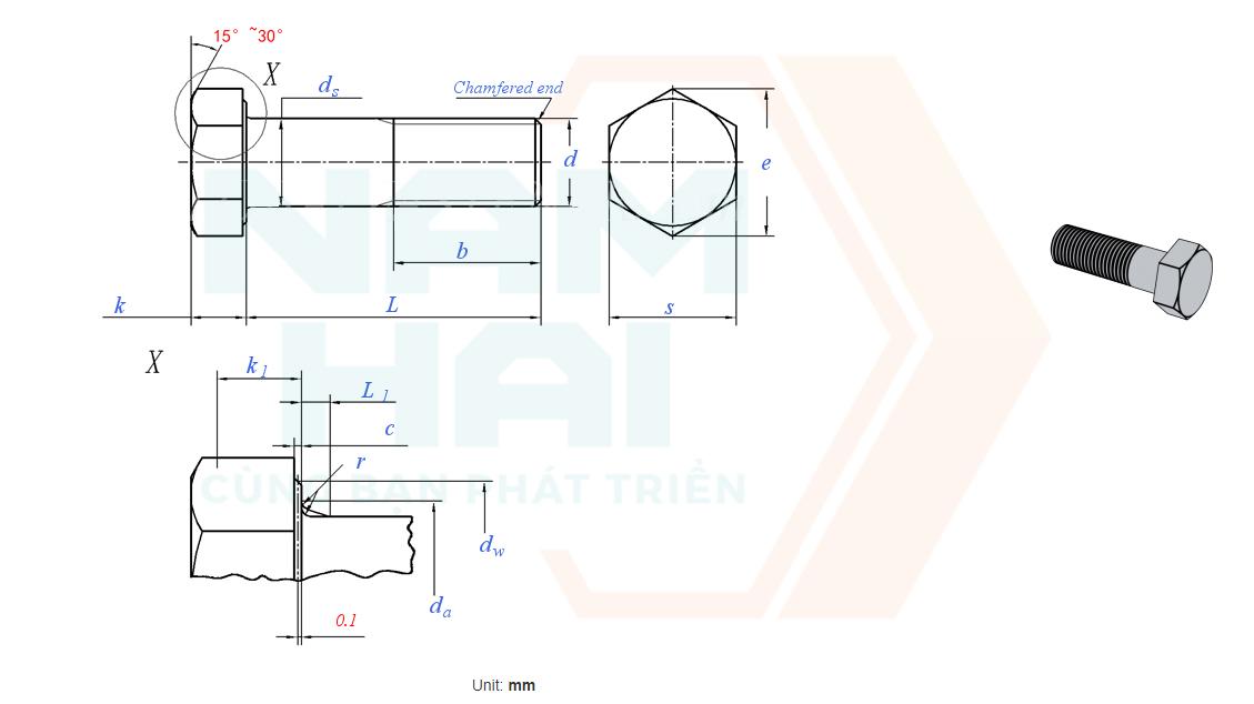 ISO 8765 - 2011 - Bu lông lục giác