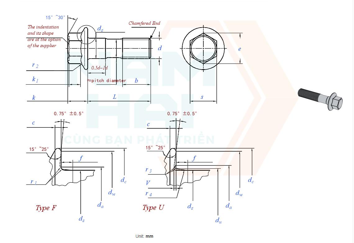 JIS B 1189 (ISO 15072 R) - 2014 - Bu lông liền long đen