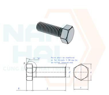 JIS B 1180 (ISO4017) - 2014 - Bu lông lục giác