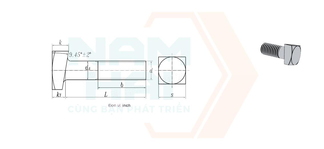 ANSI / ASME B 18.2.1 - 2012 - Bu lông đầu vuông