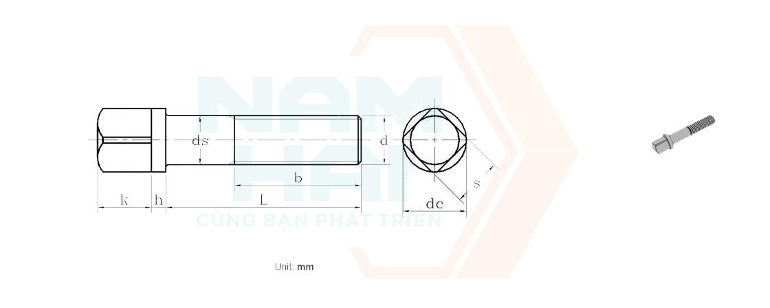 DIN 478 - 2016 - Bu lông đầu vuông