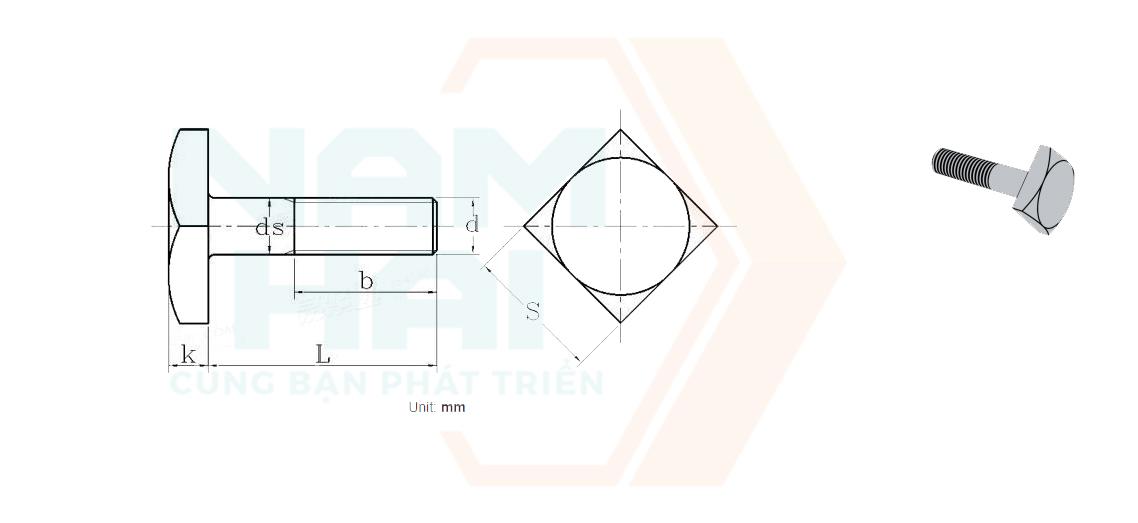 JIS B 1182 - 1995 - Bu lông đầu vuông