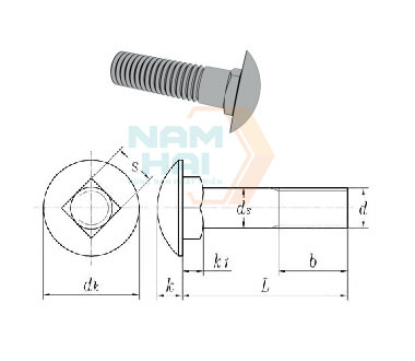 GB /T 801 - 1998 Cup Head Square Neck Bolts With Small Head And Short Neck - Product Grade B