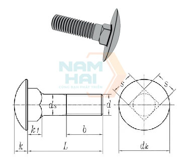 ISO 8677 - 1986 Cup Head Square Neck Bolts With Large Head-Product Grade C