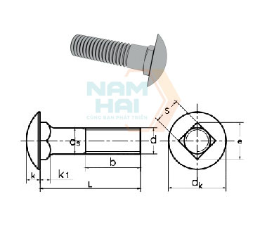 ISO 8678 - 1988 Cup Head Square Neck Bolts With Small Head And Short Neck-Product Grade B