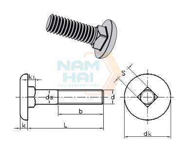 CNS 4425 - 1981 Cup Square Bolts With Enlarged Head For Looms