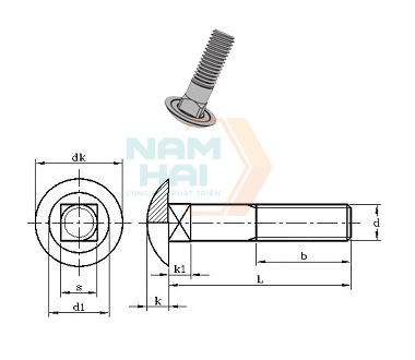 JIS B 1171 - 1996 Cup head square neck bolts(With indentation)